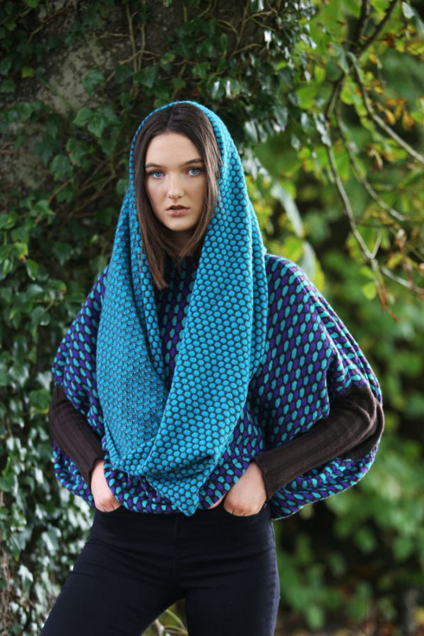 Moss Patterned Twisted Loop Scarf LOOPSCF4-3 Linda Wilson Knitwear Irish Designer Limerick
