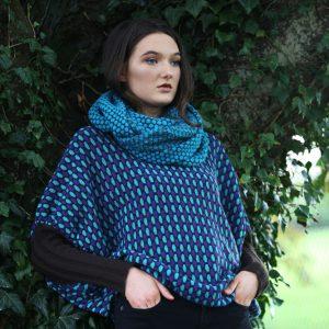 Moss Patterned Twisted Loop Scarf LOOPSCF4-2 Linda Wilson Knitwear Irish Designer Limerick