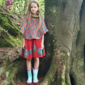 Patterned Heart Poncho PONCHO5-1 Linda Wilson Knitwear Irish Designer Limerick