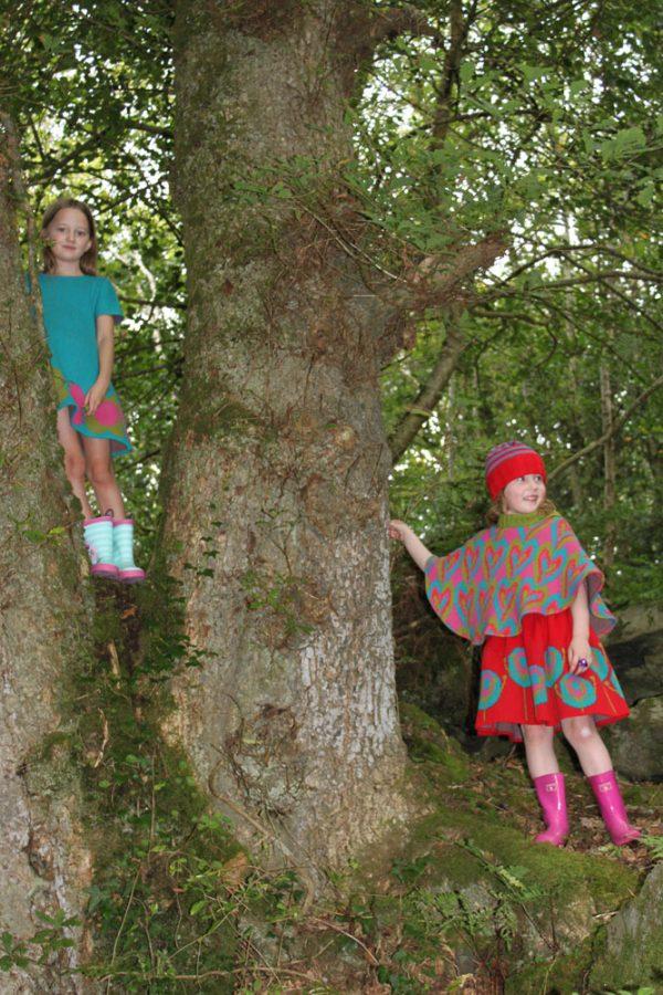 Patterned Heart Poncho PONCHO5-2 Linda Wilson Knitwear Irish Designer Limerick