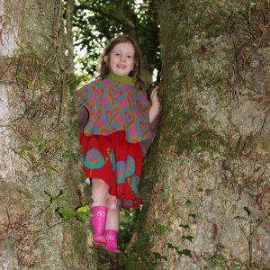 Patterned Heart Poncho PONCHO5-3 Linda Wilson Knitwear Irish Designer Limerick