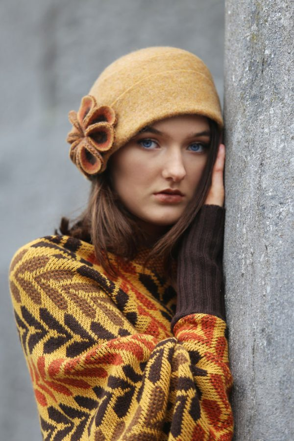 Retro Flower Hat HAT26-1 Linda Wilson Knitwear Irish Designer Limerick
