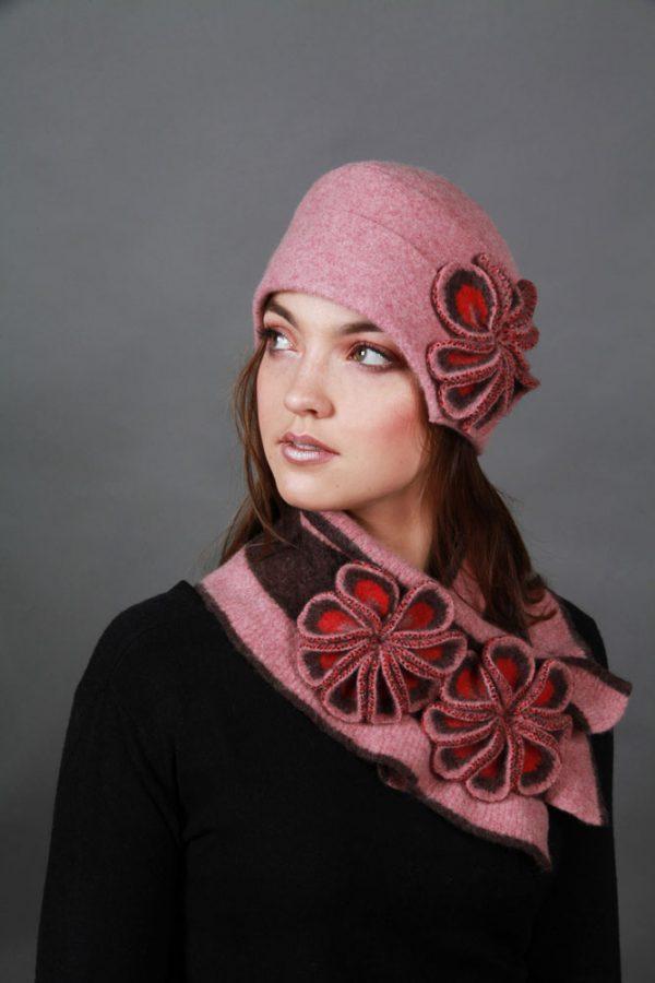 Retro Flower Hat HAT26-5 Linda Wilson Knitwear Irish Designer Limerick