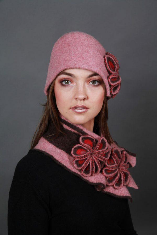 Retro Flower Hat HAT26-6 Linda Wilson Knitwear Irish Designer Limerick