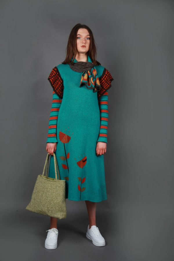 Retro Patterned Pull Through Scarf SCF5c-1 Linda Wilson Knitwear Irish Designer Limerick