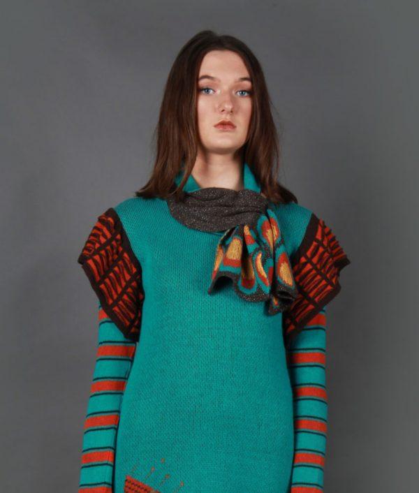 Retro Patterned Pull Through Scarf SCF5c-2 Linda Wilson Knitwear Irish Designer Limerick