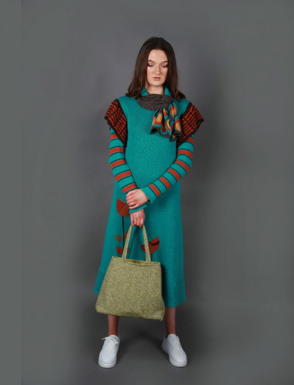 Retro Patterned Pull Through Scarf SCF5c-3 Linda Wilson Knitwear Irish Designer Limerick