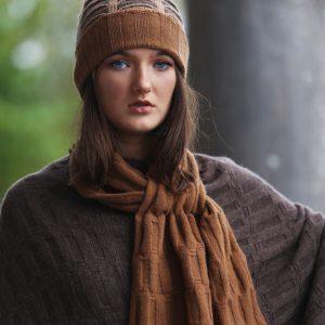 Ribbed Pocket Hat HAT19-3 Linda Wilson Knitwear Irish Designer Limerick