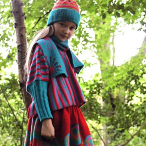 Stripped Poncho Style Jumper JMP6-1 Linda Wilson Childrens Irish Knitwear Designer
