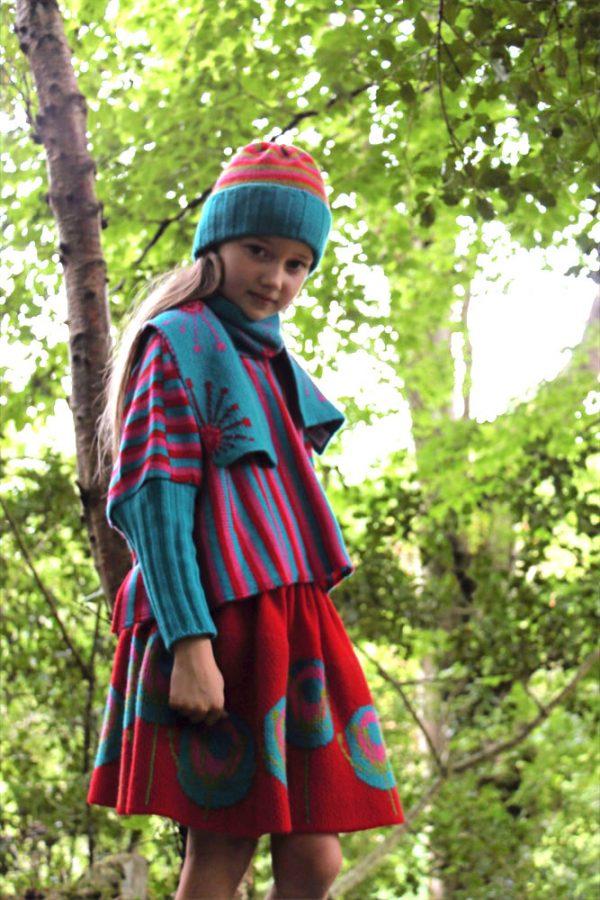 Stripped Poncho Style Jumper JMP6-1 Linda Wilson Childrens Irish Knitwear Designer
