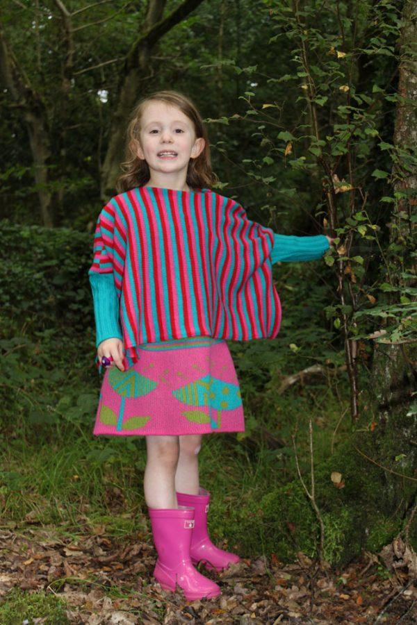 Stripped Poncho Style Jumper JMP6-3 Linda Wilson Childrens Irish Knitwear Designer