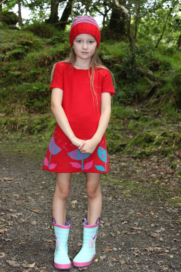 Vintage Flower Dress DRS19-1 Linda Wilson Knitwear Irish Childrens Knitwear Designer Limerick