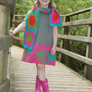 Vintage Flower Striped Dress DRS19Striped-1 Linda Wilson Knitwear Irish Childrens Knitwear Designer Limerick