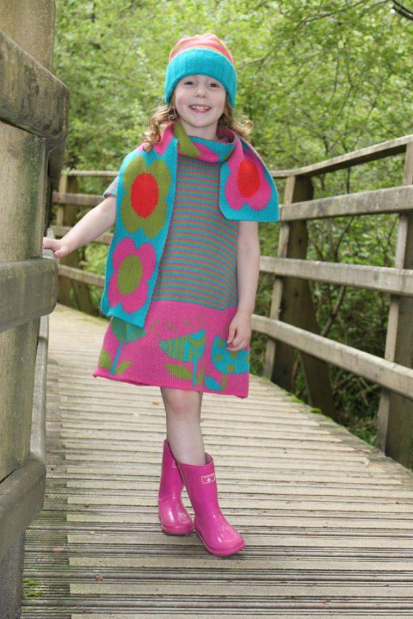 Vintage Flower Striped Dress DRS19Striped-1 Linda Wilson Knitwear Irish Childrens Knitwear Designer Limerick