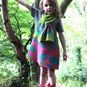 Vintage Flower Striped Dress DRS19Striped-2 Linda Wilson Knitwear Irish Childrens Knitwear Designer Limerick