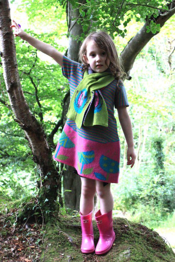 Vintage Flower Striped Dress DRS19Striped-2 Linda Wilson Knitwear Irish Childrens Knitwear Designer Limerick