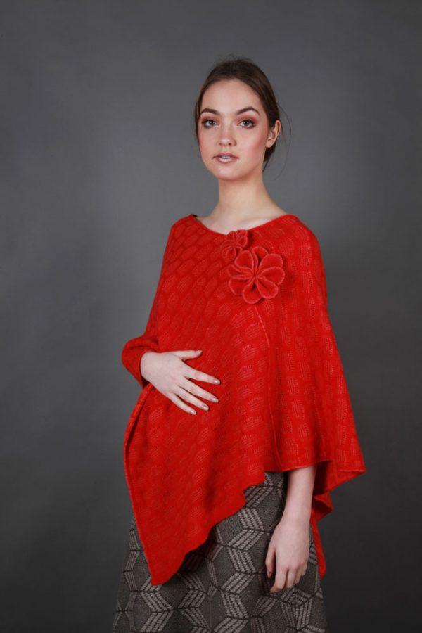 Angled Textured Poncho PON2-1 Linda Wilson Irish Knitwear Designer Limerick