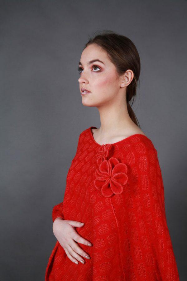 Angled Textured Poncho PON2-2 Linda Wilson Irish Knitwear Designer Limerick