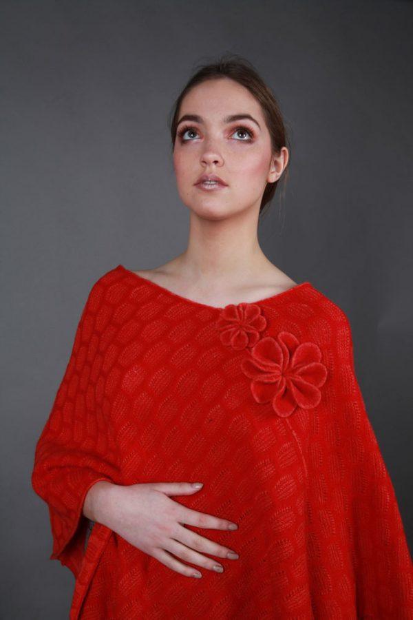 Angled Textured Poncho PON2-3 Linda Wilson Irish Knitwear Designer Limerick