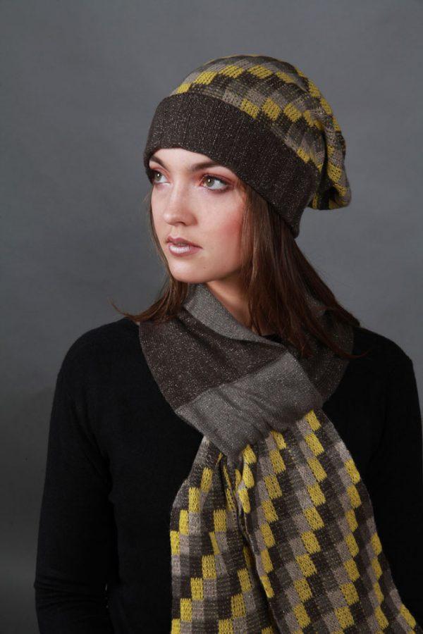 Beanie Chequered Pattern Hat HAT4c-1 Linda Wilson Irish Knitwear Designer Limerick