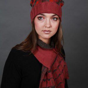 Beanie Chequered Pattern Hat HAT4c-2 Linda Wilson Irish Knitwear Designer Limerick