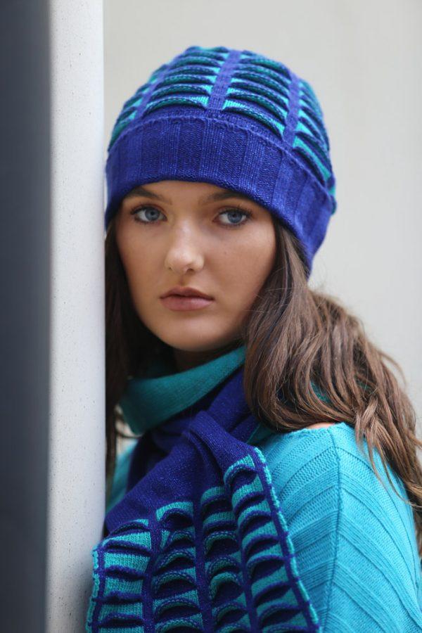 Beanie Ribbed Pocket Hat 1 Linda Wilson Irish Knitwear Designer Limerick