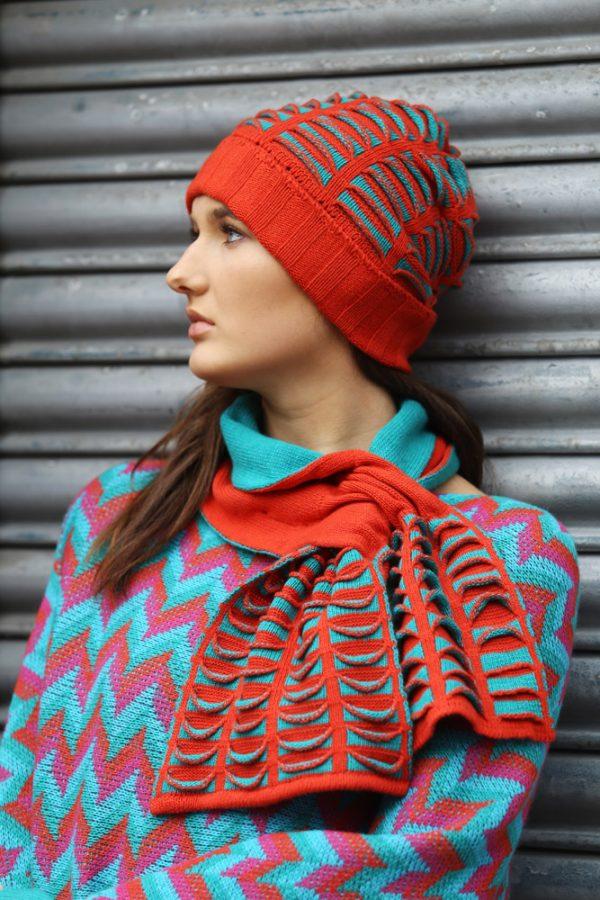 Beanie Ribbed Pocket Hat 3 Linda Wilson Irish Knitwear Designer Limerick