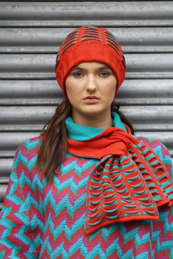 Beanie Ribbed Pocket Hat 4 Linda Wilson Irish Knitwear Designer Limerick
