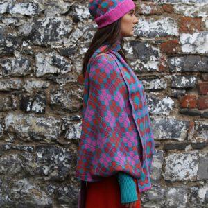 Beanie Ribbed Retro Daisy Hat 2 Linda Wilson Irish Knitwear Designer Limerick