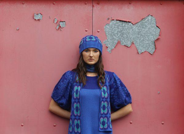 Beanie Ribbed Retro Daisy Hat 3 Linda Wilson Irish Knitwear Designer Limerick