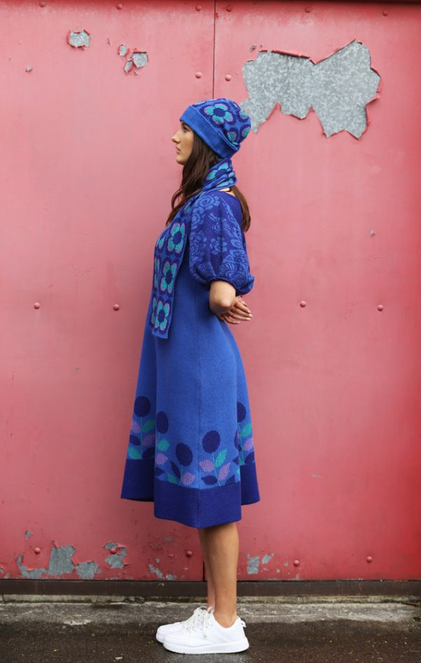 Beanie Ribbed Retro Daisy Hat 4 Linda Wilson Irish Knitwear Designer Limerick