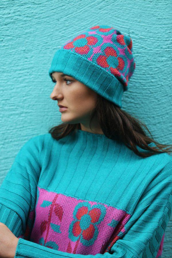 Beanie Ribbed Retro Daisy Hat 5 Linda Wilson Irish Knitwear Designer Limerick