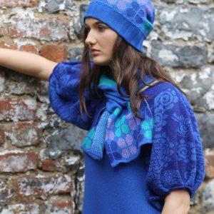 Beanie Ribbed Retro Petal Hat 1 Linda Wilson Irish Knitwear Designer Limerick