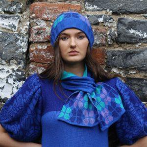Beanie Ribbed Retro Petal Hat 2 Linda Wilson Irish Knitwear Designer Limerick