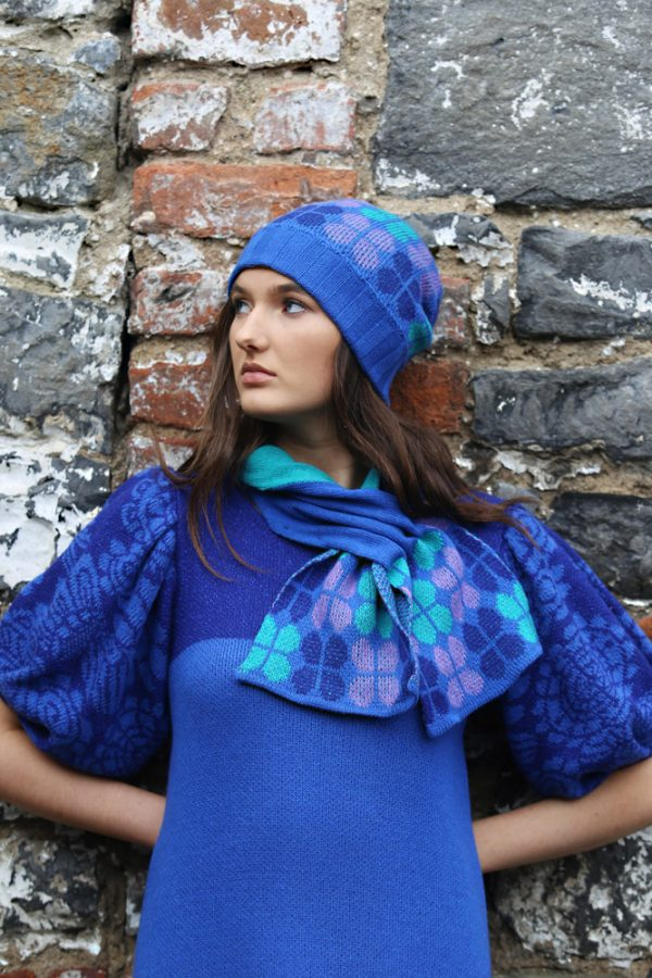 Beanie Ribbed Retro Petal Hat 3 Linda Wilson Irish Knitwear Designer Limerick