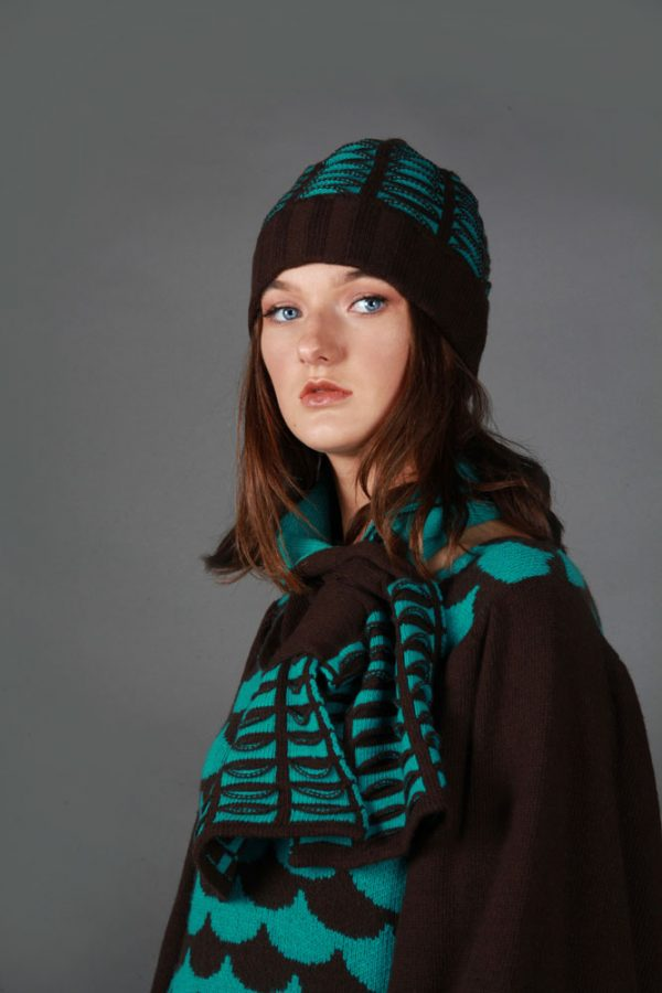 Beanie Ribbed Textured Pocket Patterned Hat HAT5c-2 Linda Wilson Knitwear Irish Designer Limerick