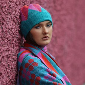 Beanie Ribbed Triangular Hat 1 Linda Wilson Irish Knitwear Designer Limerick