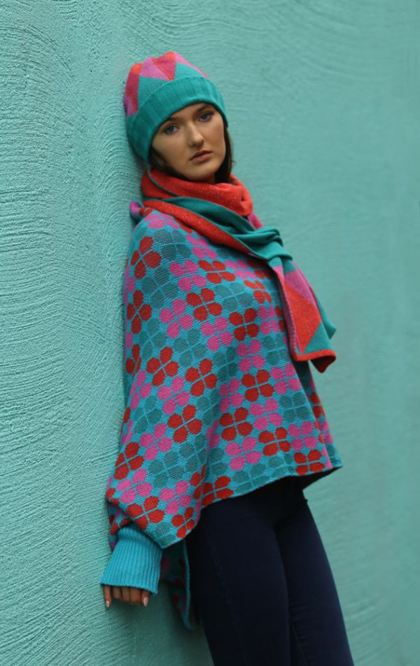 Beanie Ribbed Triangular Hat 2 Linda Wilson Irish Knitwear Designer Limerick