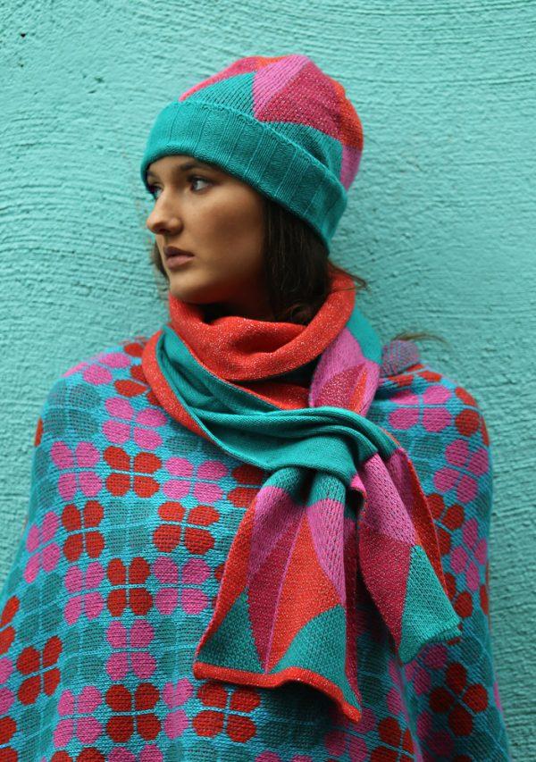 Beanie Ribbed Triangular Hat 3 Linda Wilson Irish Knitwear Designer Limerick