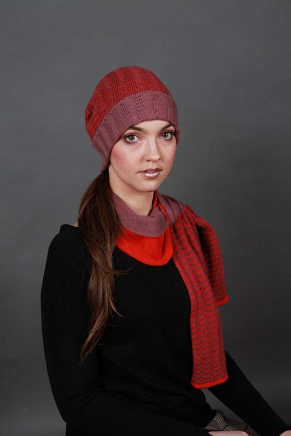 Beanie Ridged Textured Hat HAT3c-1 Linda Wilson Irish Knitwear Designer Limerick