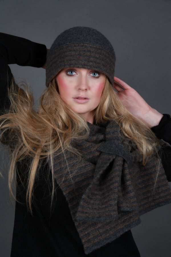 Beret Style Raised Row Hat HAT21-1 Linda Wilson Irish Knitwear Designer