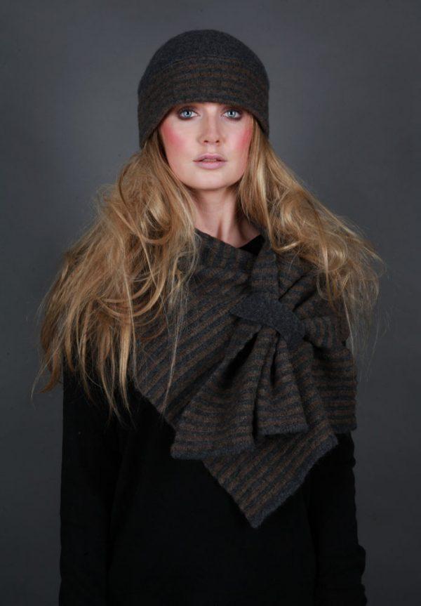 Beret Style Raised Row Hat HAT21-2 Linda Wilson Irish Knitwear Designer