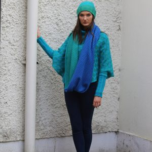 Block Colour Moss Looped Scarf 1 Linda Wilson Irish Knitwear Designer Limerick
