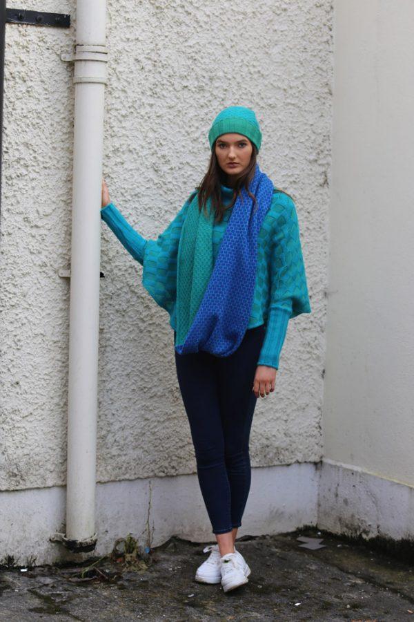Block Colour Moss Looped Scarf 1 Linda Wilson Irish Knitwear Designer Limerick