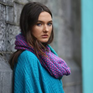 Block Colour Moss Looped Scarf 2 Linda Wilson Irish Knitwear Designer Limerick
