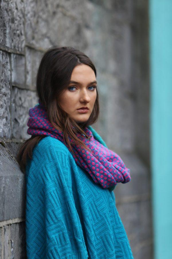 Block Colour Moss Looped Scarf 2 Linda Wilson Irish Knitwear Designer Limerick