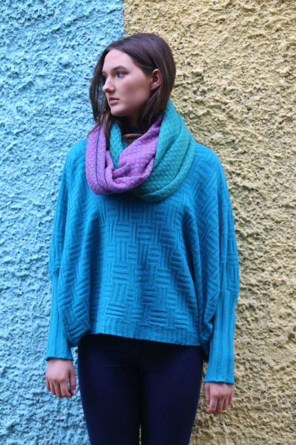 Block Colour Moss Looped Scarf 3 Linda Wilson Irish Knitwear Designer Limerick