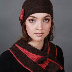 Bow Hat HAT26bow-2 Linda Wilson Irish Knitwear Designer Limerick
