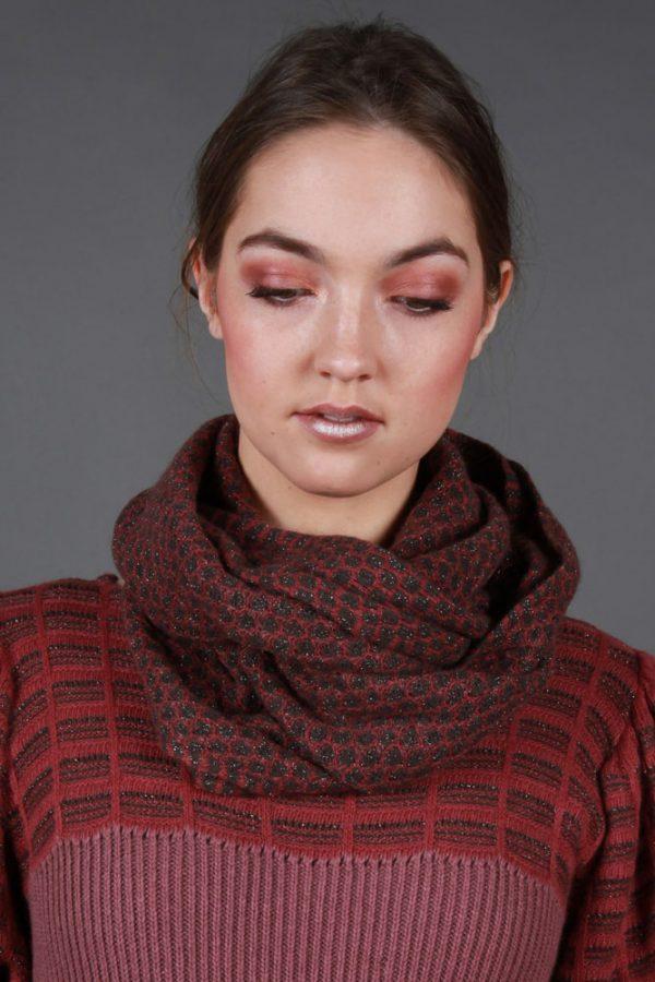 Bubble Stitch Loop Scarf AC-LOOPSCF-2 Linda Wilson Knitwear Irish Designer Limerick