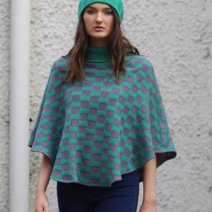 Checker Poncho 1 Linda Wilson Irish Knitwear Designer Limerick